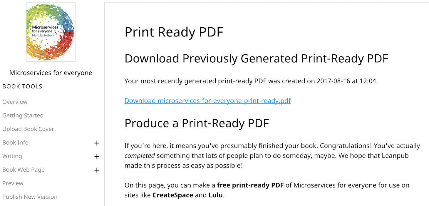 Let Leanpub generate a print-ready PDF for you