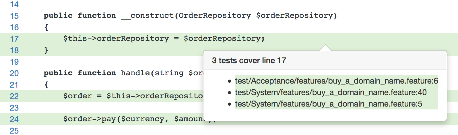 Merged code coverage report